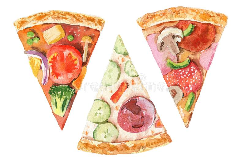 Pizza slice with tomato, cheese, basil, salami on white background. Doodle top view. Hand-drawn Menu illustration, line royalty free illustration