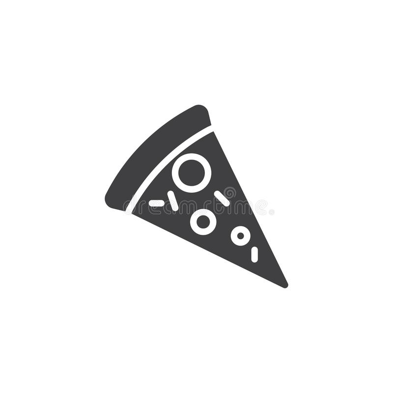 Pizza slice vector icon. Filled flat sign for mobile concept and web design. Pizza simple solid icon. Symbol, logo illustration. Pixel perfect vector graphics royalty free illustration