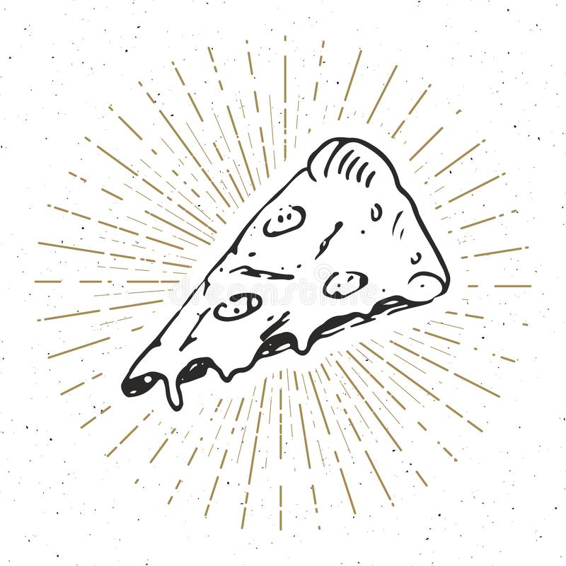Pizza slice vintage label, Hand drawn sketch, grunge textured retro badge, typography design t-shirt print, vector illustration.  vector illustration