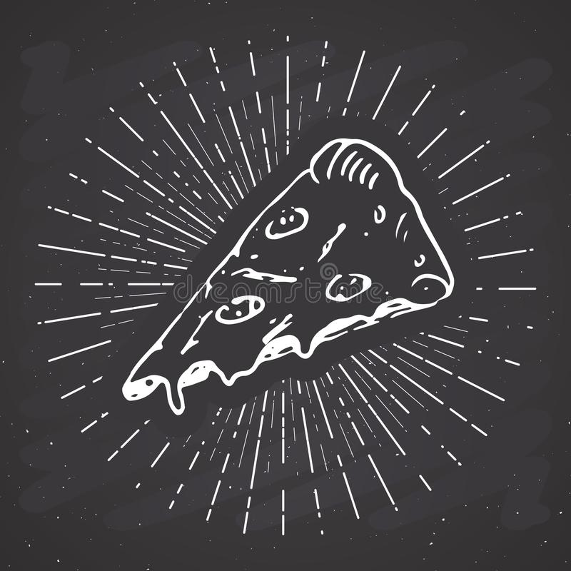 Pizza slice vintage label, Hand drawn sketch, grunge textured retro badge, typography design t-shirt print, vector illustration on. Chalkboard background stock illustration