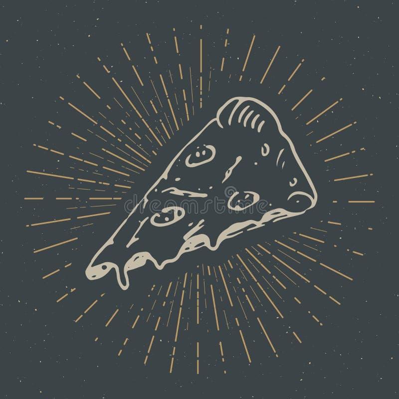 Pizza slice vintage label, Hand drawn sketch, grunge textured retro badge, typography design t-shirt print, vector illustration.  stock illustration