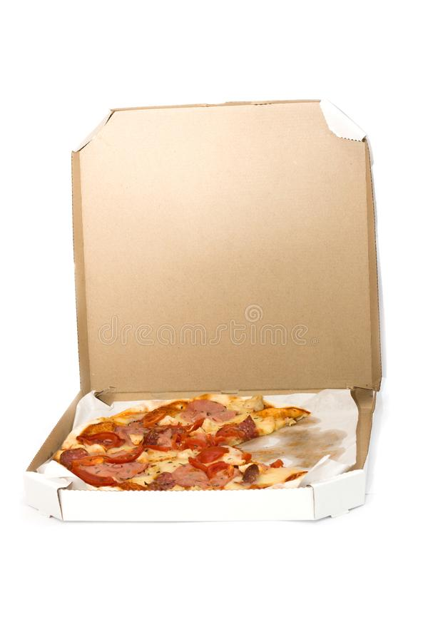 Pizza slices in a box, tomatoes, cheese, meat royalty free stock photos