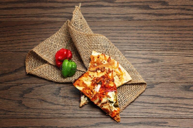 Pizza slices flatlay royalty free stock image