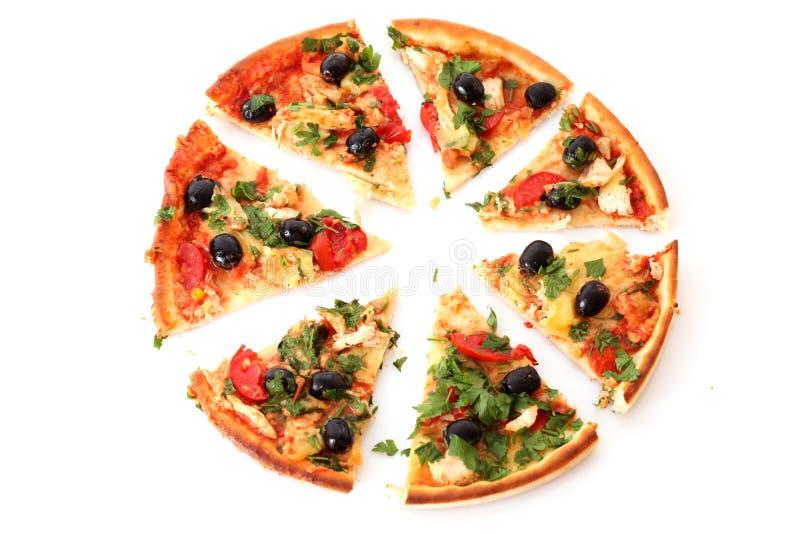pizza slised photo stock