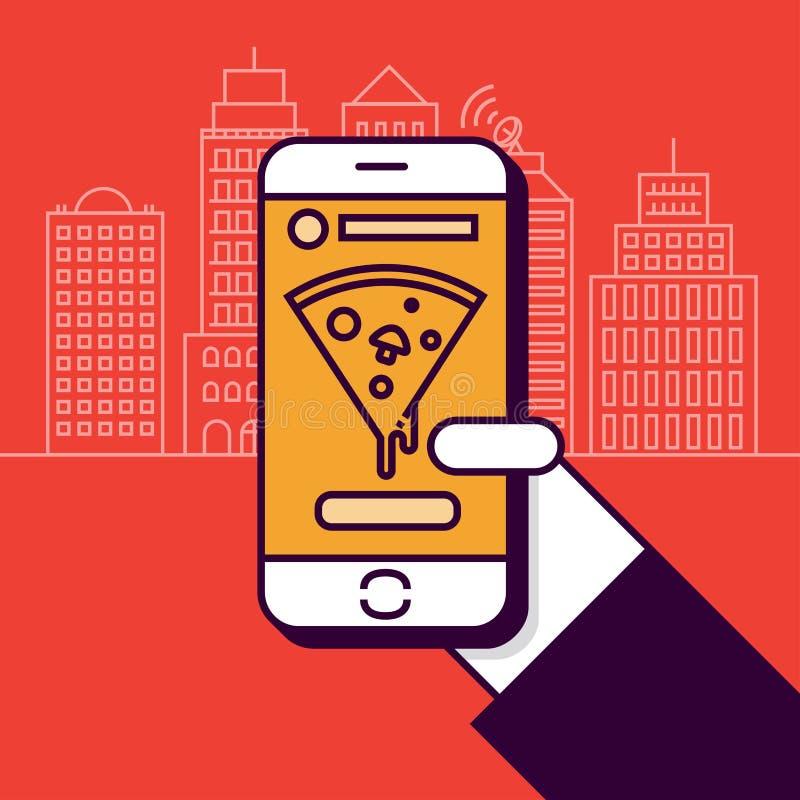 Pizza som beställer med mobiltelefonen i plan linjär vektorstil stock illustrationer