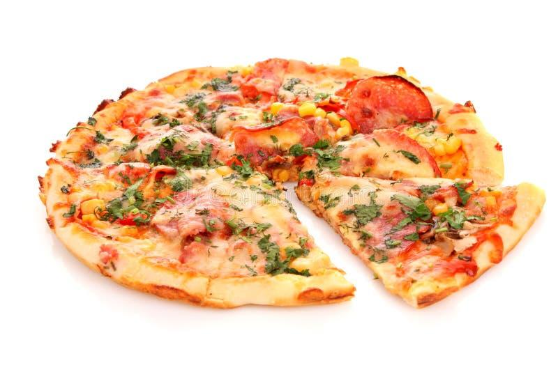 pizza sopra bianco fotografia stock