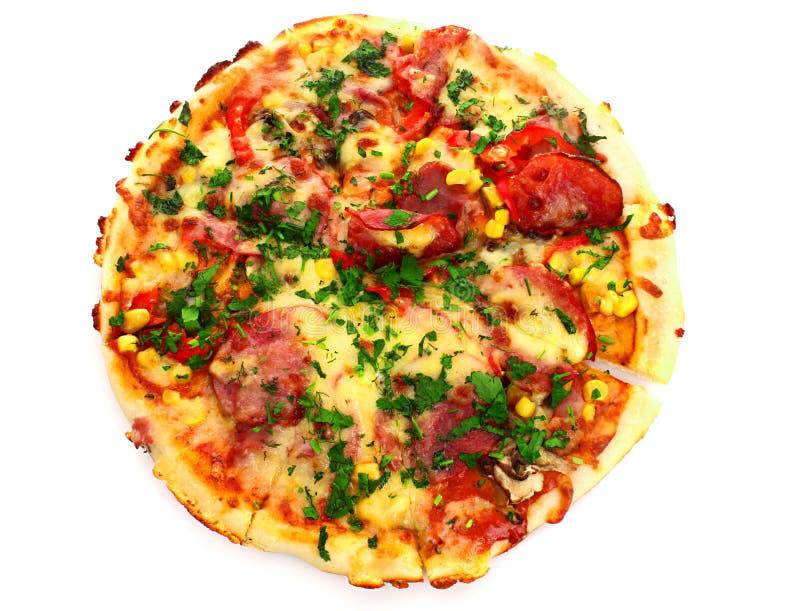 pizza sopra bianco immagini stock