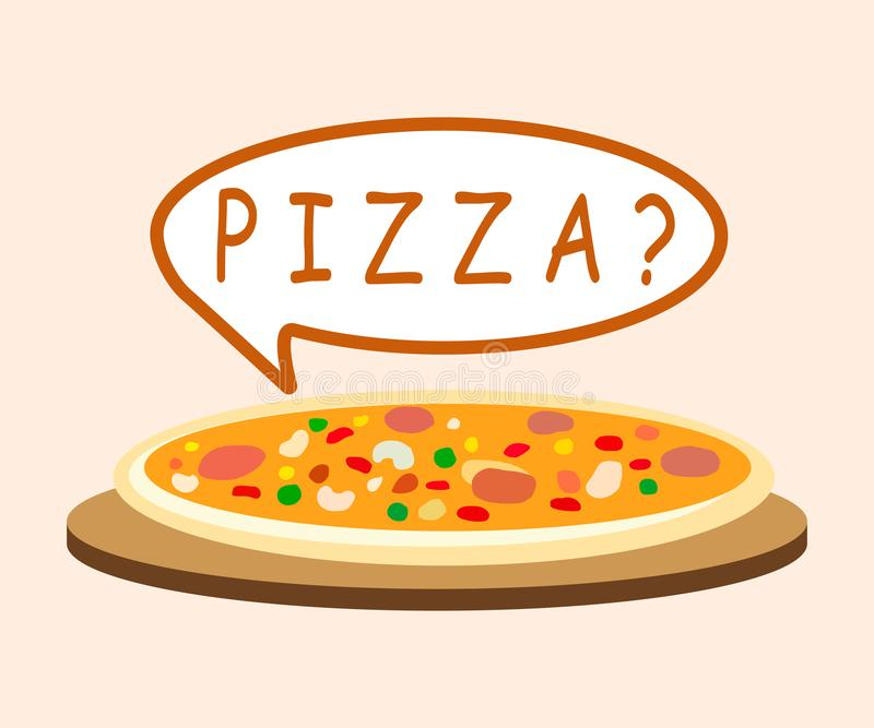 Pizza with Speech Bubble Cartoon Illustration. Fresh Cooked Pepperoni on Wooden Board. Delicious Margarita in Pizzeria. Flat Vegetarian Pastry on Plate royalty free illustration