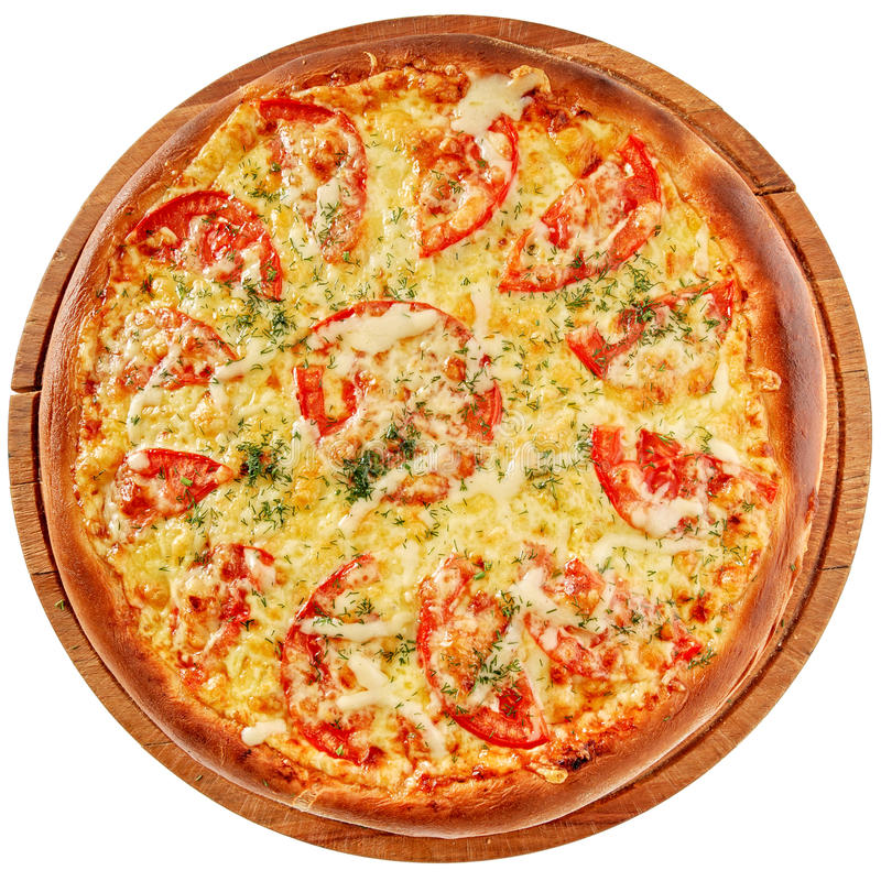 Pizza with spicy chicken and tomatoes royalty free stock photos