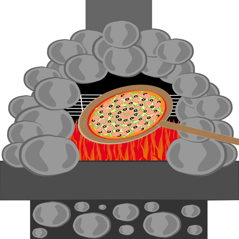Pizza with stone furnace isolated on white backgroun. Food and cookingg. Vector illustration royalty free illustration