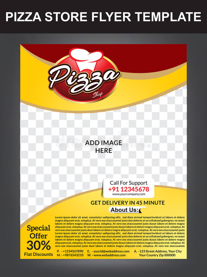 Pizza Store Flyer Template Design Stock Vector Illustration Of