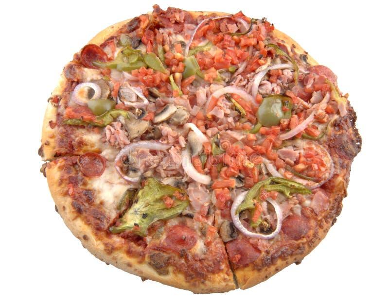 Pizza suprema, isolada. imagens de stock