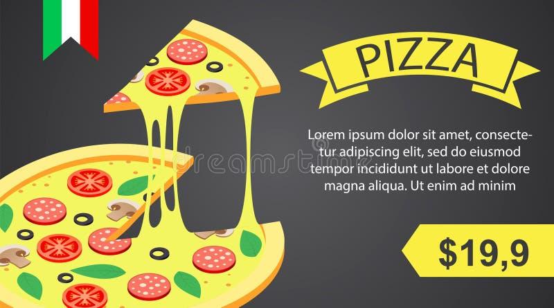 Pizza sztandar horyzontalny, isometric styl ilustracji