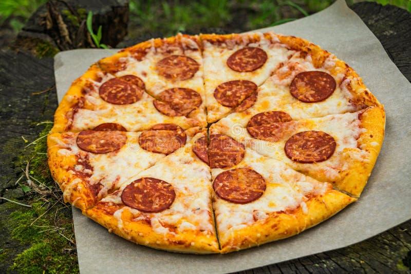 Pizza tła włoski kuchenny pepperoni pizzy biel zdjęcie stock
