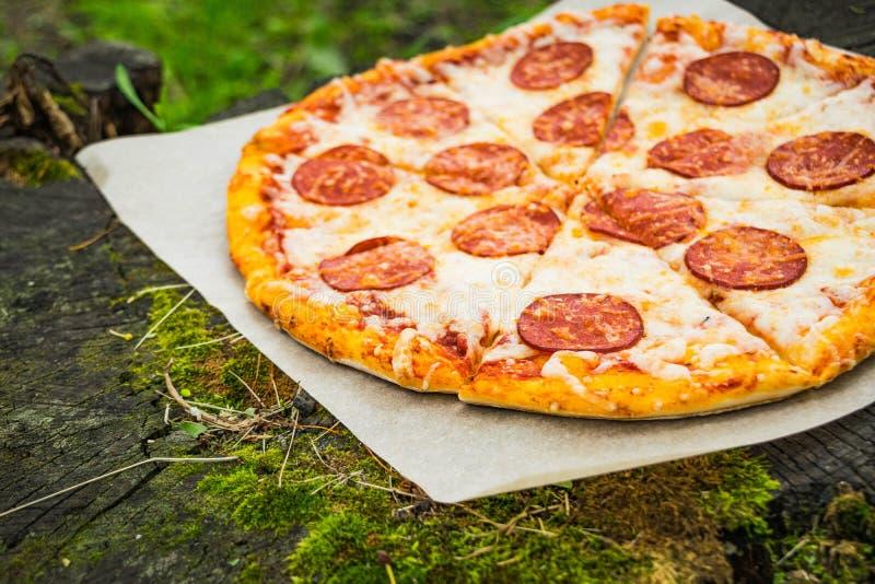 Pizza tła włoski kuchenny pepperoni pizzy biel obrazy stock