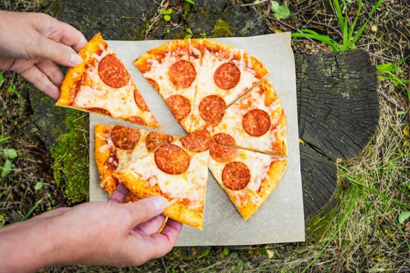 Pizza tła włoski kuchenny pepperoni pizzy biel obrazy royalty free