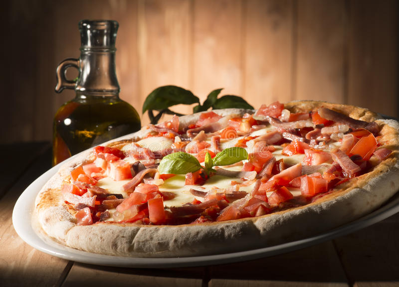 Pizza on the table stock photos