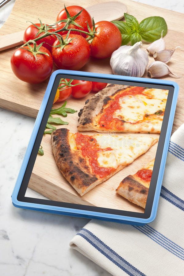 Pizza Tablet Italian Food royalty free stock images