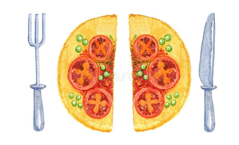Pizza tagliata a metà con la coltelleria watercolor Isolato su priorit? bassa bianca fotografia stock