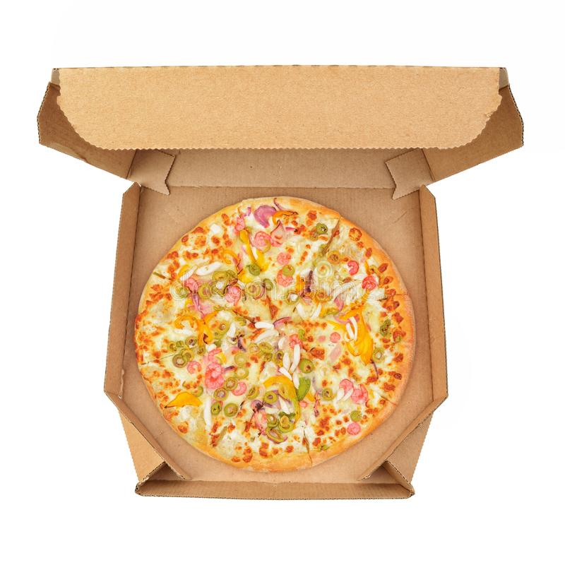 Pizza in take-out box isolated stock photo