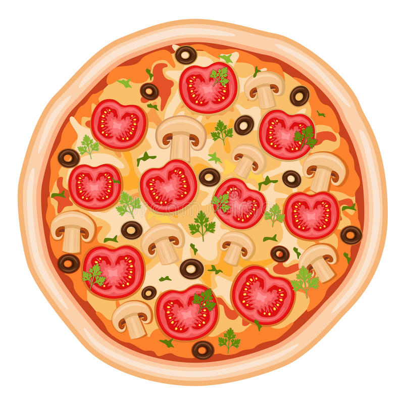 Pizza with tomatoes. Tasty and healthy - pizza Margherita with tomatoes, mushrooms and olives. Isolated over white background. Vector file saved as EPS AI8, all vector illustration