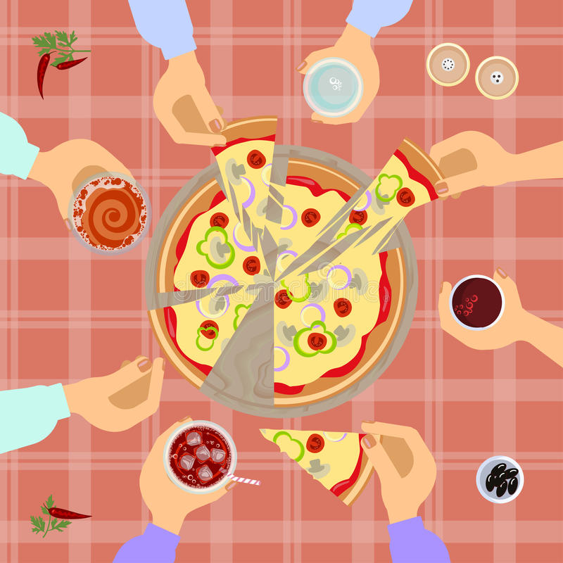 Pizza top view vector illustration