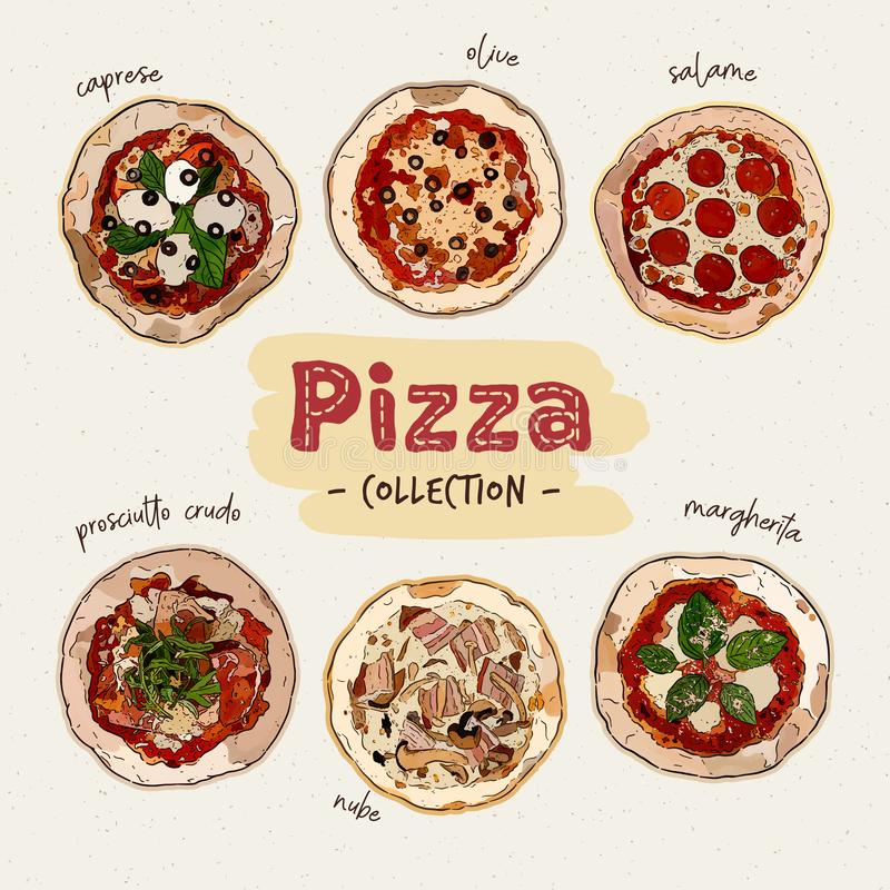 Pizza top view set with different ingredients. Italian whole pizza. hand draw sketch vector. Pizza top view set with different ingredients. Italian whole pizza stock illustration