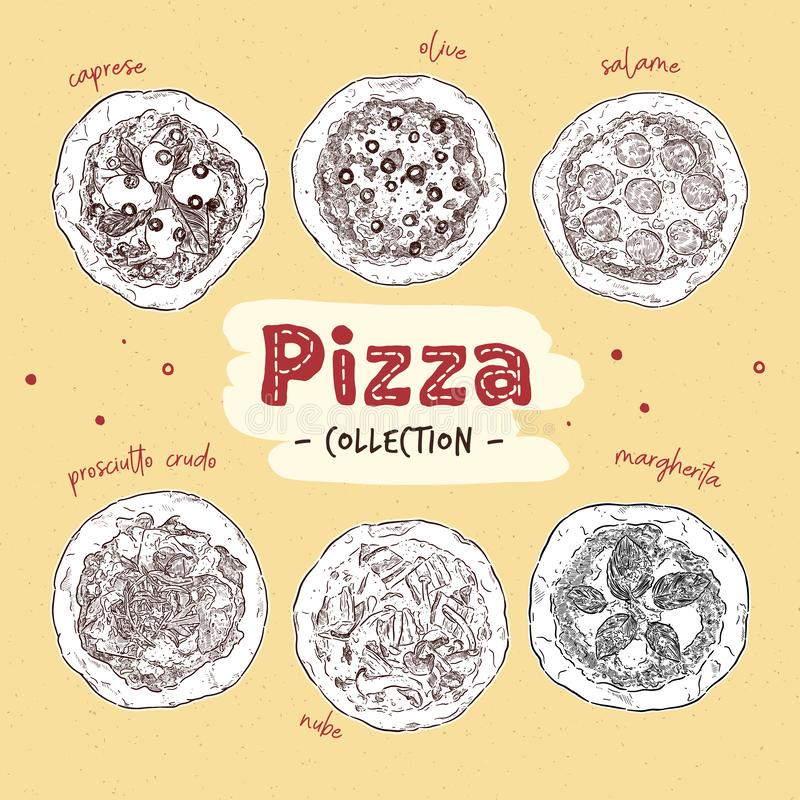 Pizza top view set with different ingredients. Italian whole pizza. hand draw sketch vector. Pizza top view set with different ingredients. Italian whole pizza royalty free illustration