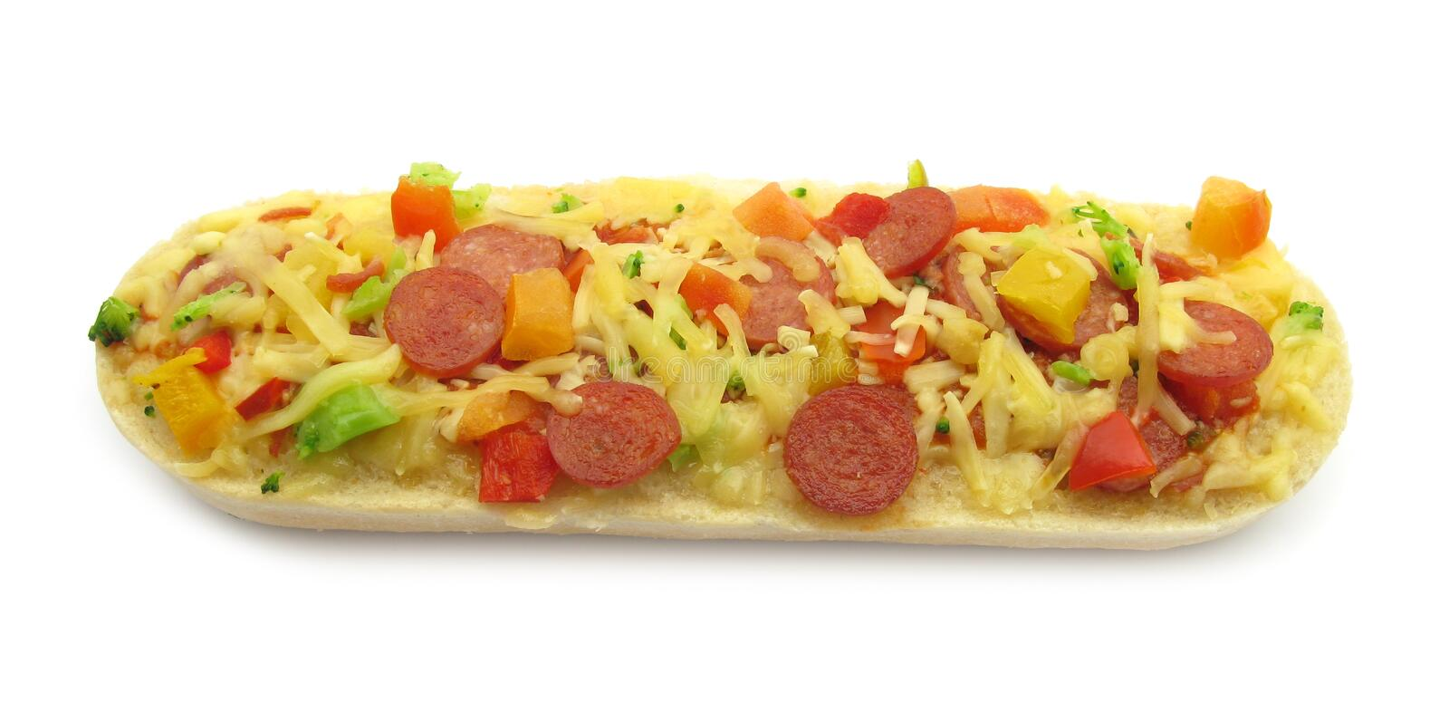 Download Pizza Topped Bruschetta Baguette Sandwich Stock Photo - Image of horizontal, fast: 10666192