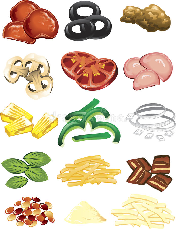 Pizza toppings vector illustration