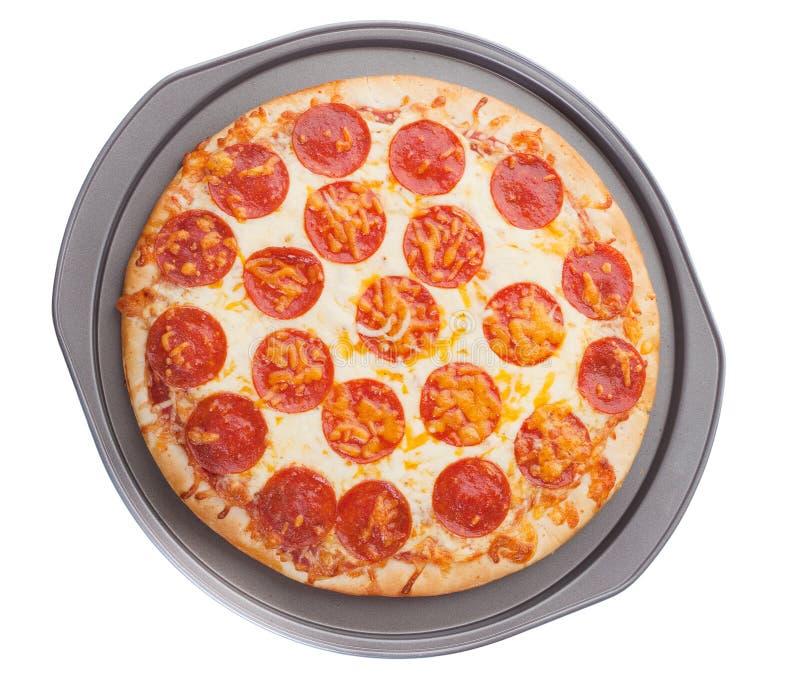 Pizza in tray stock photo