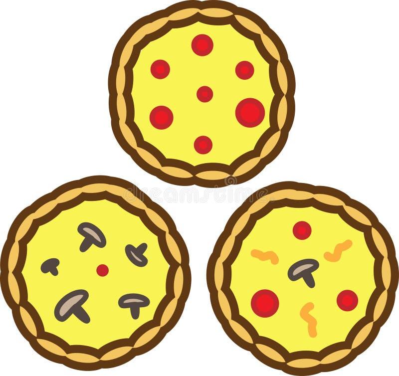 Pizza tre färgade symbolen med tomater, ost och champinjoner vektor illustrationer