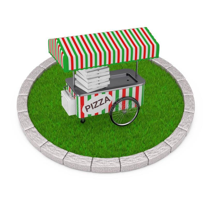 Pizza Trolley Cart over Round Plot of Dense Green Grass. 3d Rend stock illustration