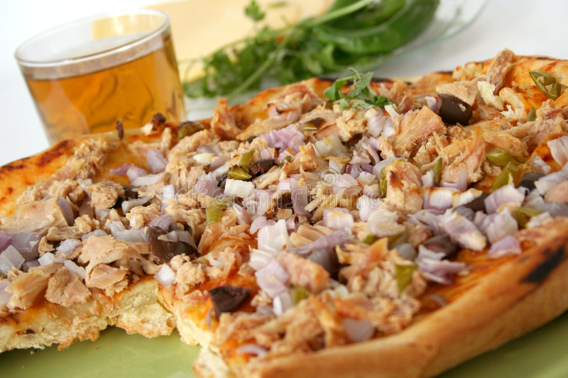 Pizza with tuna royalty free stock image