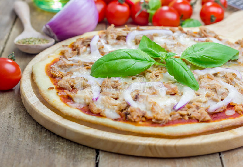 Pizza with tuna fish royalty free stock photo