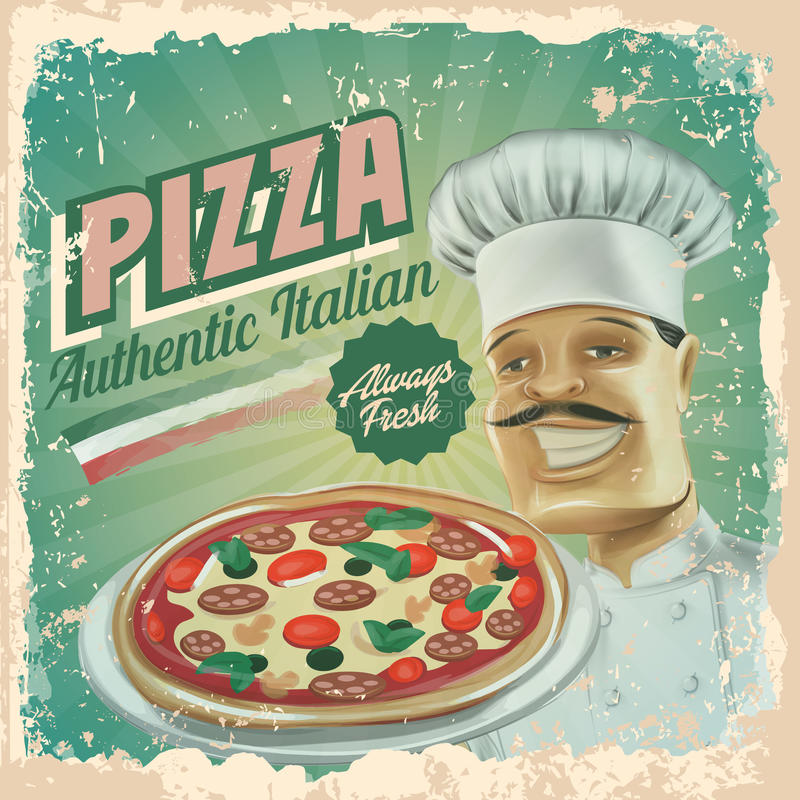 Pizza uitstekende banner vector illustratie