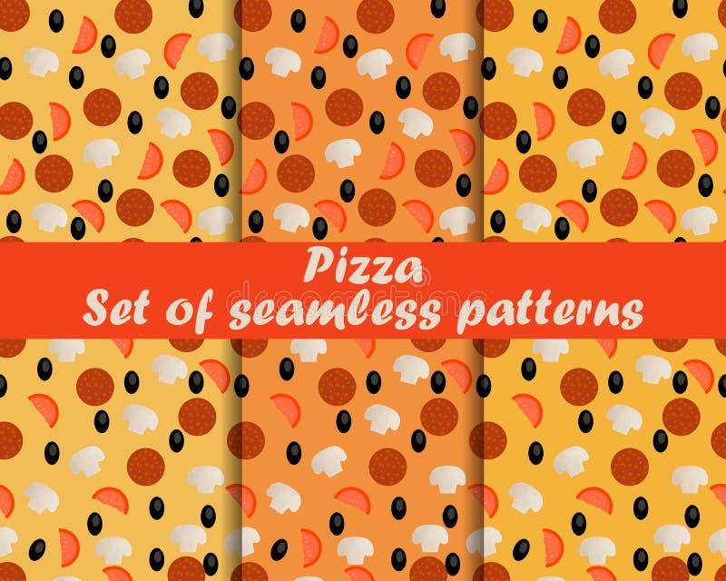 Pizza, un insieme dei modelli senza cuciture con gli ingredienti della pizza royalty illustrazione gratis