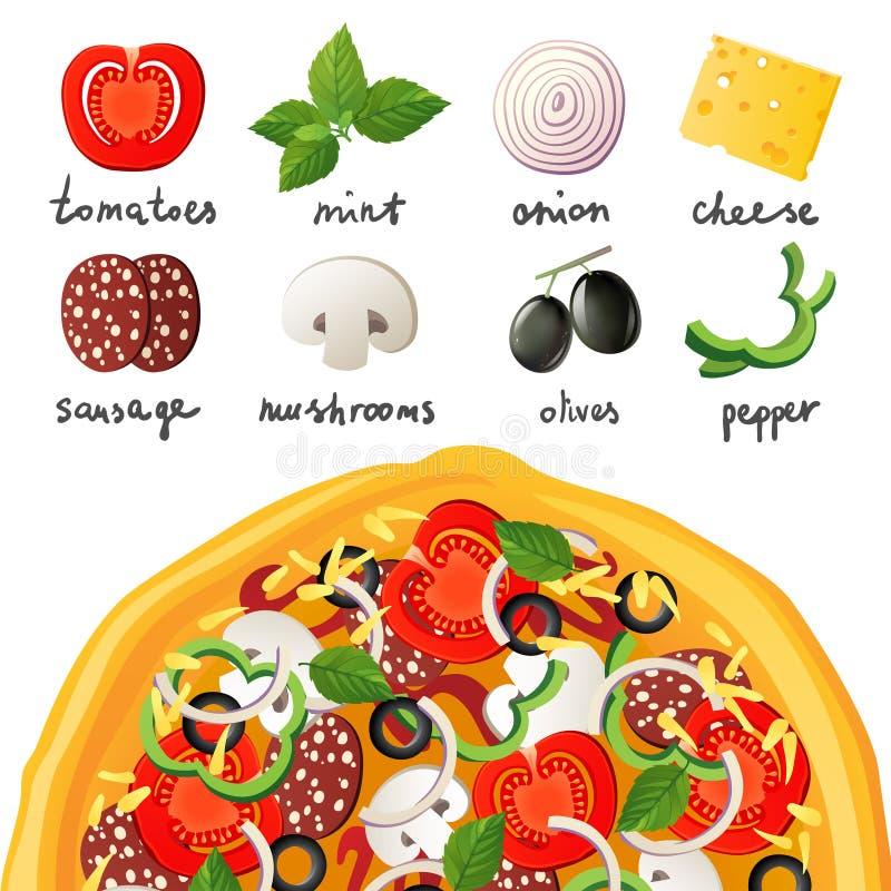 Pizza und Bestandteile lizenzfreie abbildung
