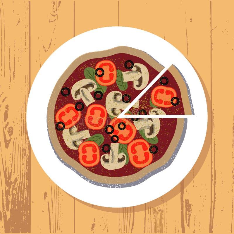 Pizza und Pizzascheibe auf weißer Platte auf Holztisch maserten Hintergrund, Vektor vektor abbildung