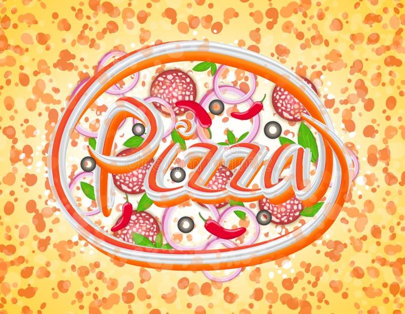 Pizza van een verscheidenheid van ingrediënten, het abstracte van letters voorzien, uitgerekte pixel, vector stock illustratie
