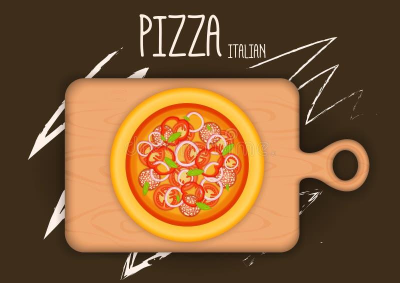 Pizza van een verscheidenheid van ingrediënten op de keukenraad royalty-vrije illustratie