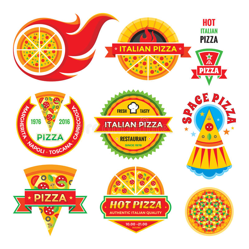 Pizza - vector badges set. Pizza - vector labels collection. royalty free illustration