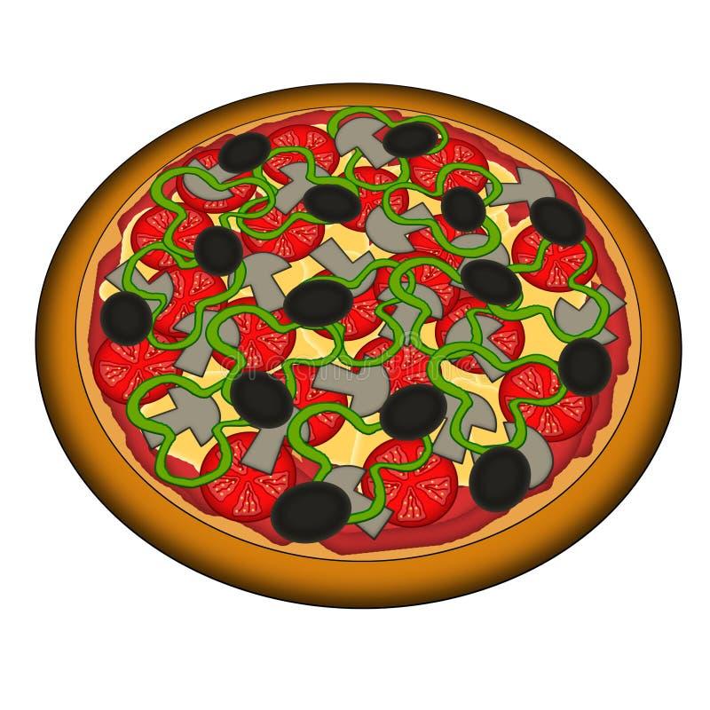 Pizza vegetariana stock de ilustración