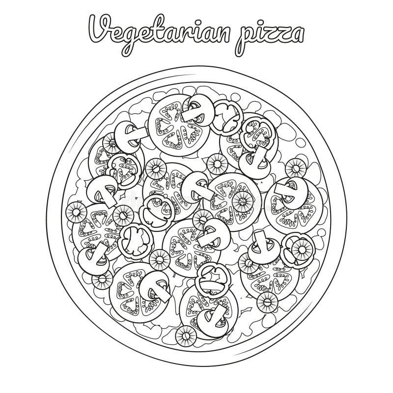Pizza vegetariana con i funghi, pomodori, peperoni illustrazione di stock