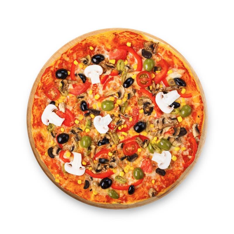 Pizza vegetariana deliziosa con i pomodori, i funghi e le olive immagini stock