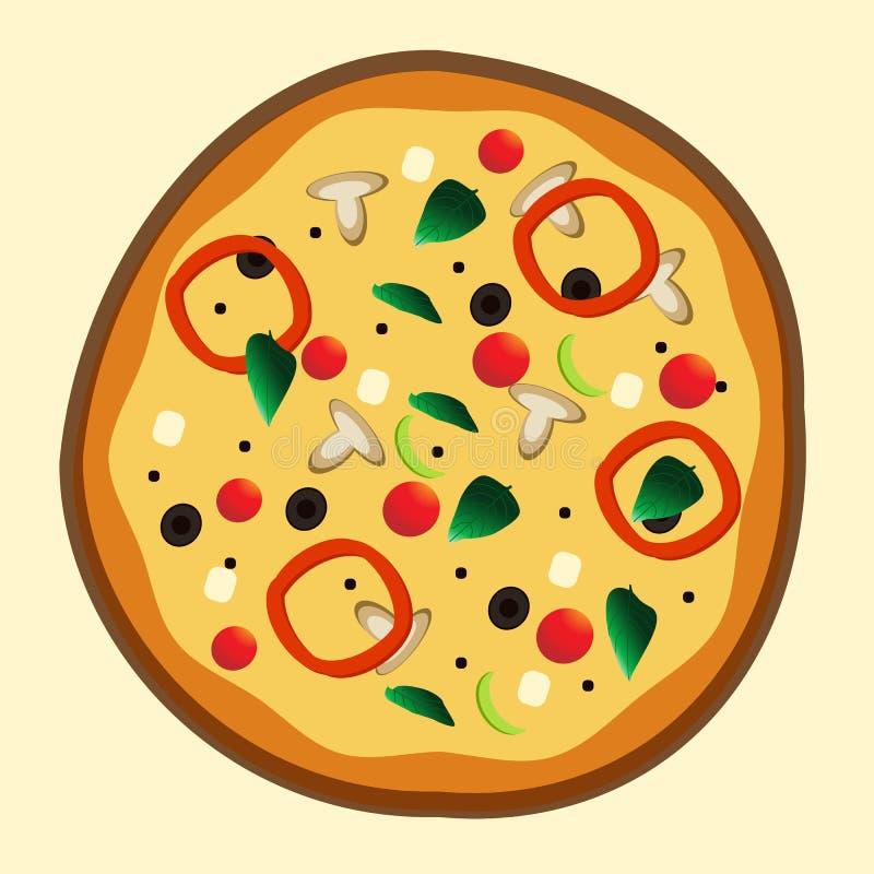 Pizza vegetariana recientemente cocida para el menú de la pizzería ilustración del vector