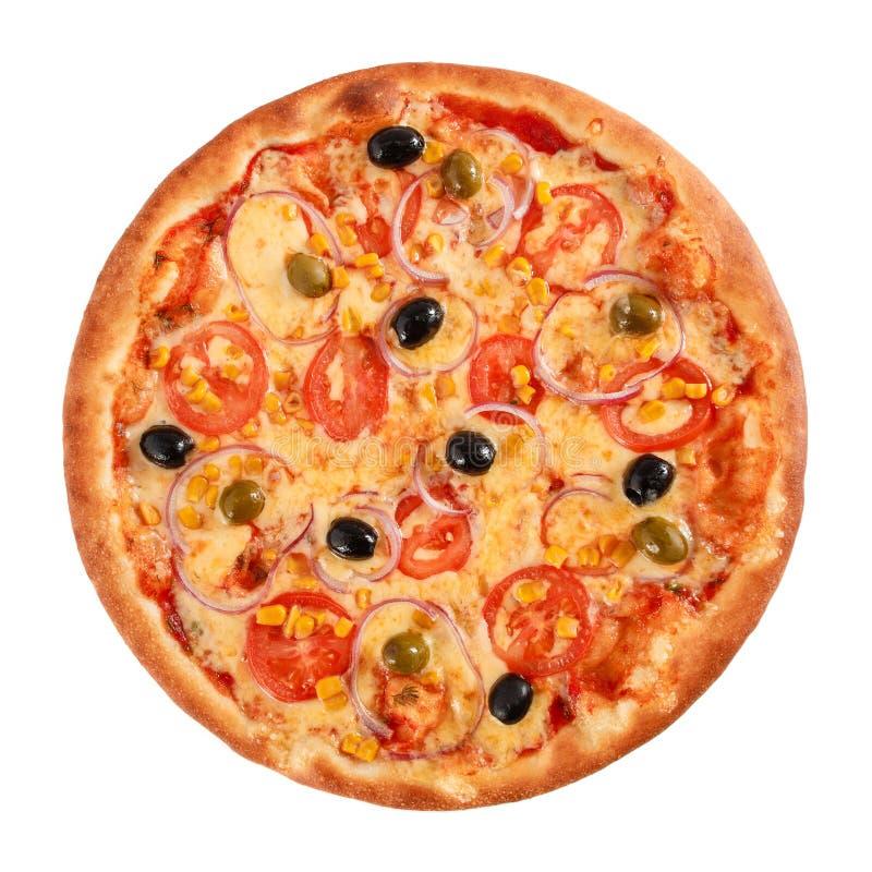 Pizza-Vegetarier mit der Zwiebel, Grüner und Schwarzer den Oliven der Tomaten, des Mais, lokalisiert auf weißer, Draufsicht lizenzfreies stockfoto