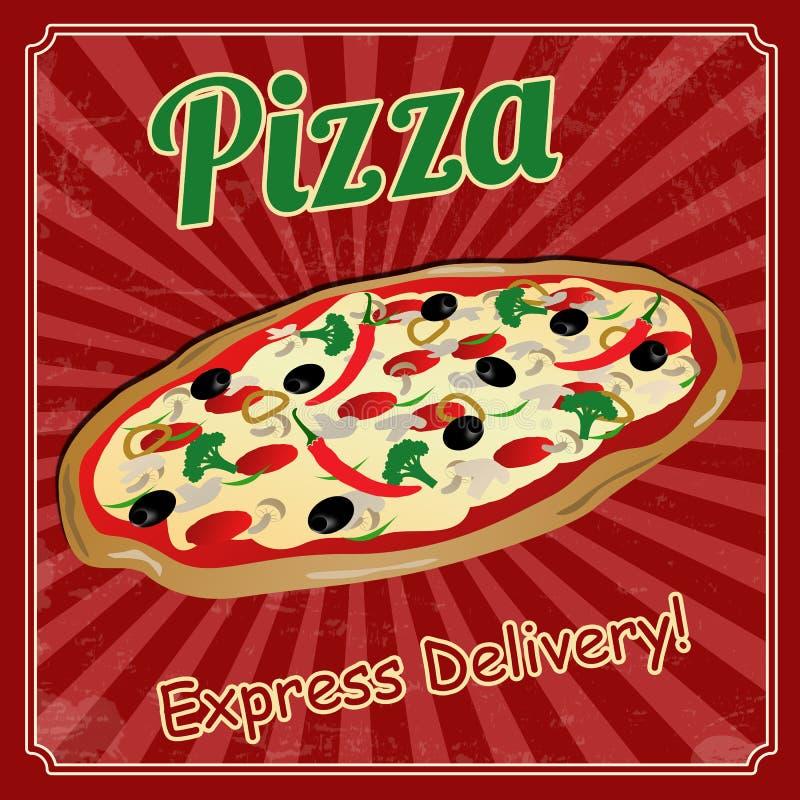 Download Pizza vintage poster stock illustration. Image of illustration - 38684670