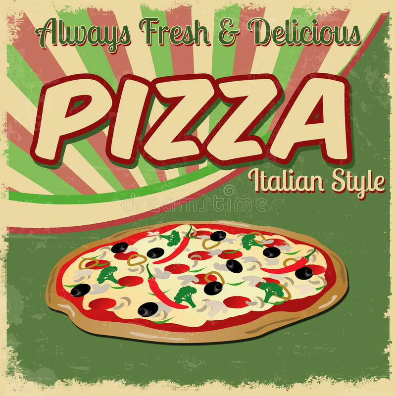 Pizza vintage poster vector illustration
