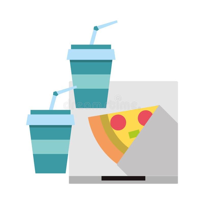 Pizza włoski fast food z sodą ilustracji